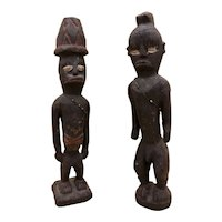 Two Vintage Congolese Hand-Carved Wooden Figures with Bead