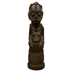 Vintage Congolese Hand-Carved Wooden Figure with Bead & Shell Accents
