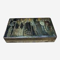 Antique Wooden Trinket Box with Marvelous Mosaic Decoration