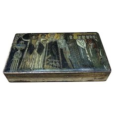Antique Wooden Trinket Box with Marvelous Mosaic Decoration
