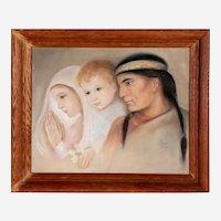 Joyce Price Native American Themed Pastel Portrait