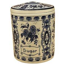 Vintage Delft Blue Holland Lidded Sugar Beautiful 4 Languages