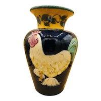 "18"" LESAL Hand-Crafted Ceramic Floral Vase w/ Rooster by Lisa Van Nortwick"