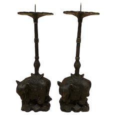 One Pair of Vintage Asian Cast Iron Elephant Candle Holders