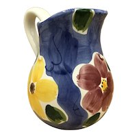 """Hand-Painted Ceramic Floral Water Pitcher Made in Portugal 8.5"""" H"""