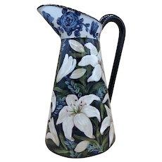 "Large LESAL Ceramic Pitcher Floral 15"" Tall"