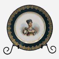 Antique Sévres Imperial Hand Painted Porcelain Portrait Plate Reine Hortense