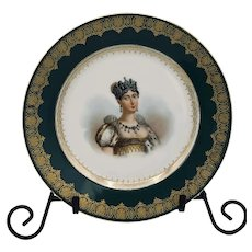Antique Sévres Imperial Hand Painted Porcelain Portrait Plate Reine Hortense
