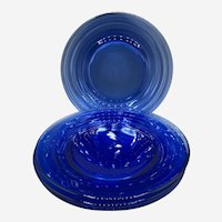Set of 4 Vintage Cobalt Blue Ribbed Glass Salad Plate 9""