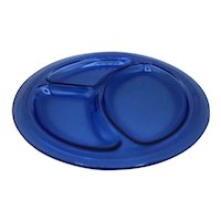 Vintage Cobalt Blue 3 Compartments Relish Nuts Candy Glass Dish