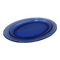 "Vintage Cobalt Blue Oval Glass Tray 11"""