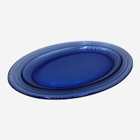 Vintage Cobalt Blue Oval Glass Tray 11""