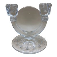 Vintage Double Armed Candelabra Candle Holders Pressed Glass