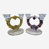 2 Indiana Glass Grape Garland Double Taper Candle Holders Candelabra