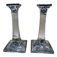 Vintage Tall Pressed Glass Candle Holders with Black & White Floral Motif