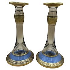 Pair of Vintage Tall Glass Candle Holders with Decorated Gold Rims