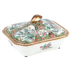 Late 19th Century Chinese Rose Medallion Lidded Serving Dish