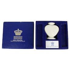 Vintage Royal Copenhagen Faience Heart Candlestick Vase with Box
