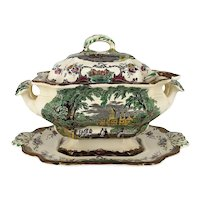 Antique Leeds by Mason English Large Tureen, with Ladle & Backplate