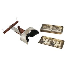 Antique H. C. WHITE Perfecscope / Stereoscope Viewer w/ 17 Stereo View Cards