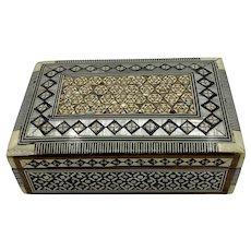 Vintage Bone Inlay Moorish Style Jewelry Box