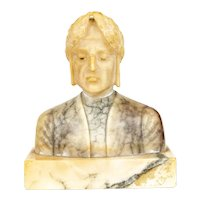 Vintage Carved Marble Bust of Dante Alighieri