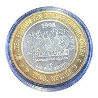 $10 .999 Silver Strike Casino Token. Intl Arpt, Reno, NV. 1998