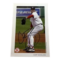 Curt Schilling Autographed Boston Red Sox 4x6 Frontal Pitching Photo