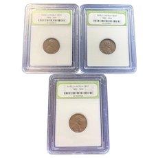 1935, '36, '37-D U.S. Lincoln Head Pennies INB Slabbed