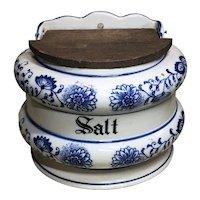 Vintage Blue Onion Salt Box