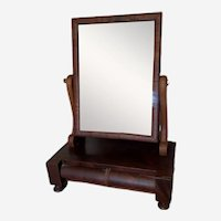 Antique Empire Style Mahogany Shaving Mirror