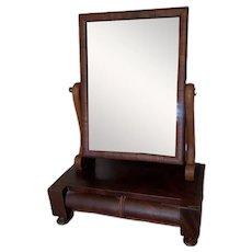 Antique Empire Style Mahogany Shaving Mirror