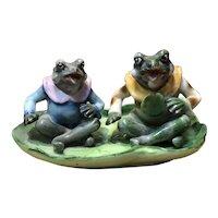 Rare Occupied Japan Porcelain Frog Figurines