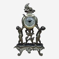 Vintage West Germany Mercedes Mantel Dresser Clock Gilded Cherubs