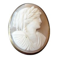 Antique Cameo Set Brooch With Gold Frame