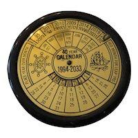 Vintage Brass 40 Year Perpetual Round Desktop Calendar 1994-2033 Works