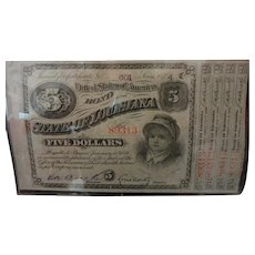 1874 Louisiana $5 Bond & Attached Interest Coupons | UNCIRCULATED