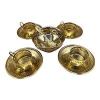 4 BELLINI Demitasse Espresso Cups Gold Plated Saucers and Sugar Bowl Brazil