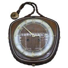 Vintage Dugena Key Wind Wall Clock-German- 9 1/2 x 9 1/2