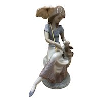 LLADRO #7612 Picture Perfect Woman w/Parasol & Puppy MINT 1990