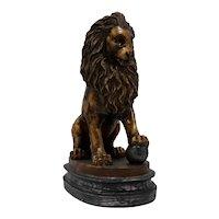 Vintage Plaster Lion Statue