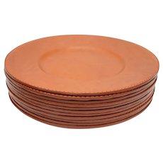"Brown Leather Dinner Plate 13.25"" Diameter"