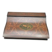 Ariana Wooden Jewelry Box in Walnut Finish with Floral Motif