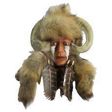 "Native American Face Sculpture 15""x11"""