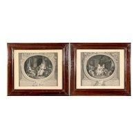 Antique Pair of Nicolas De Launay (1739-1792) Monochrome Engravings