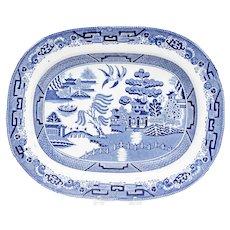 Antique 19th Century English Staffordshire Blue Willow Iron Stone Platter