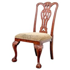 Mahogany Reproduction Chippendale Style Side Chair with Shell Motif