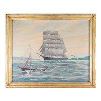 Original Neil MacEachen Maritime Oil Painting of Full-Rigged Ship