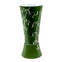 Hand-Crafted Contemporary Japanese Green Vase with Foliate Design