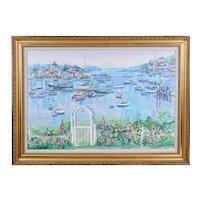 Colorful Maritime Landscape Oil Painting by M. DAVIS